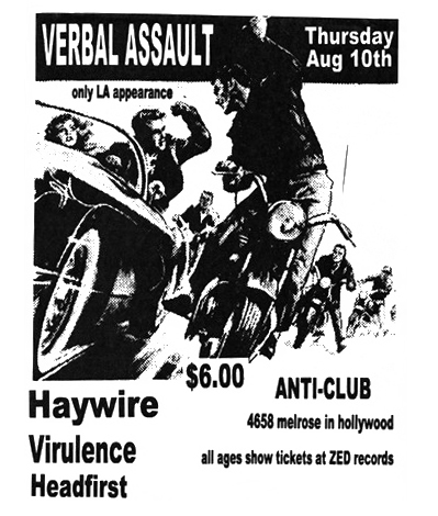 Verbal Assault-Haywire-Virulence-Head First @ Hollywood CA 8-10-89