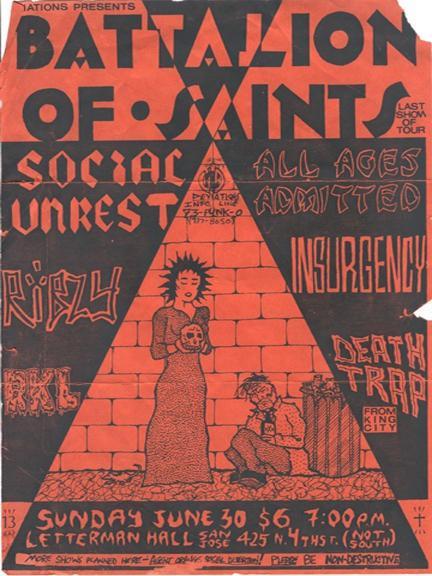 Battalion Of Saints-Social Unrest-Ribzy-RKL-Insurgency-Death Trap @ San Jose CA 6-30-85