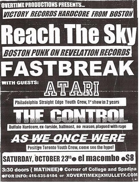 Reach The Sky-Fastbreak-Atari-The Control-As We Once Were @ Toronto Canada 10-23-99