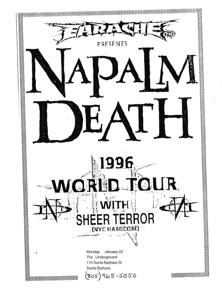 Napalm Death-Sheer Terror @ Santa Barbara CA 1-22-96