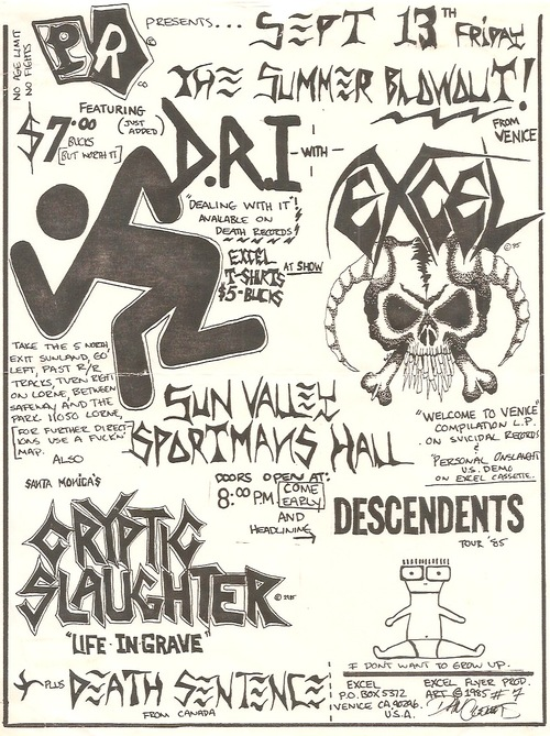 Dirty Rotten Imbeciles-Excel-Cryptic Slaughter-Descendents-Death Sentence @ Venice CA 9-13-85