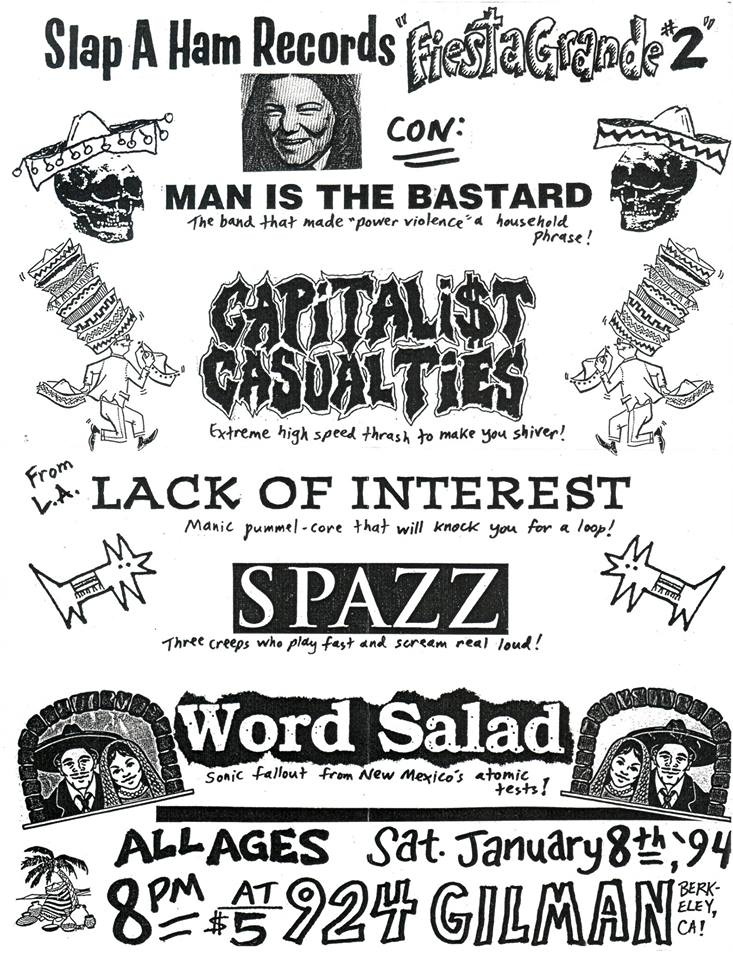 Man Is The Bastard-Capitalist Casualties-Lack Of Interest-Spazz-Word Salad @ Berkeley CA 1-8-94