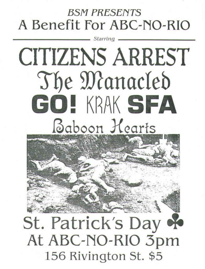 Citizens Arrest-The Manacled-Go!-Krak-SFA-Baboon Hearts @ New York City NY 3-17-90