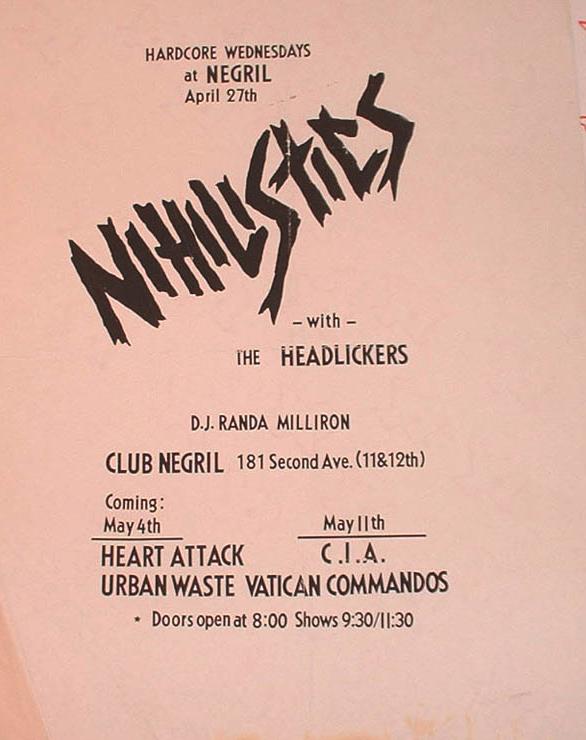 Nihilistics-The Headlickers @ New York City NY 4-27-UNKNOWN YEAR