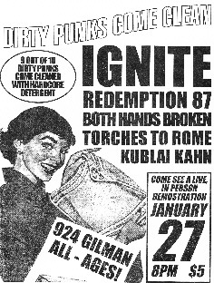 Ignite-Redemption 87-Both Hands Broken-Torches To Rome-Kublai Kahn @ Berkeley CA 1-27-96