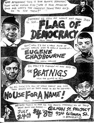 Flag Of Democracy-Eugene Chadbourne-The Beatnigs-No Use For A Name @ Berkeley CA 7-24-87