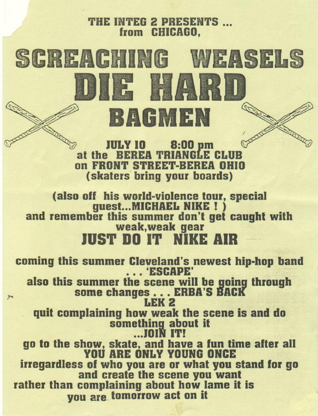 Screeching Weasel-Die Hard-Bag Men @ Berea OH 7-10-UNKNOWN YEAR