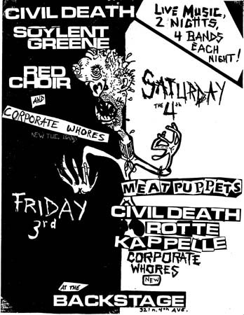 Civil Death-Soylent Green-Red Choir-Corporate Whores-Meat Puppets @ Tucson AZ UNKNOWN DATE/YEAR