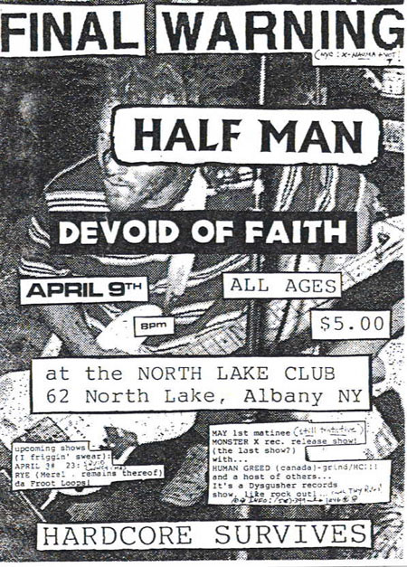 Final Warning-Half Man-Devoid Of Faith @ Albany NY 4-9-97