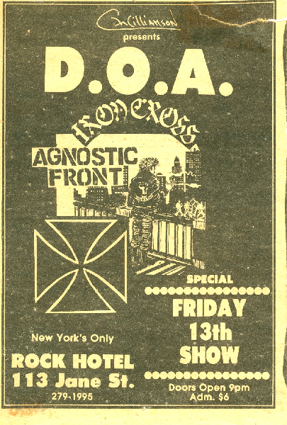 DOA-Iron Cross-Agnostic Front @ New York City NY UNKNOWN DATE/YEAR