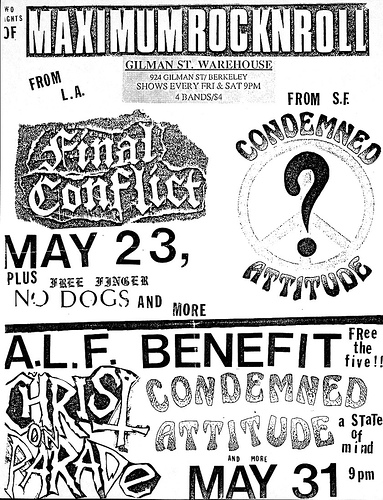 Final Conflict-No Dogs-Condemned Attitude @ Berkeley CA 5-23-UNKNOWN YEAR