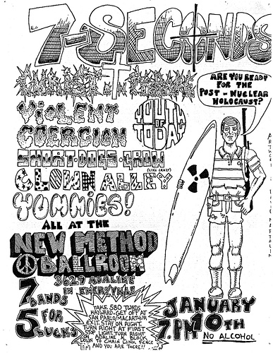 7 Seconds-Youth Of Today-Violent Coercion-Short Dogs Grow-Clown Alley-Yummies @ Emeryville CA 1-10-86