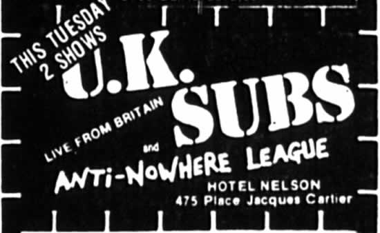 UK Subs-Anti Nowhere Lague @ Montreal Canada