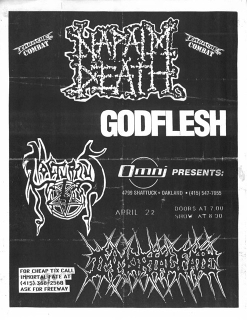 Napalm Death-Godflesh @ Oakland CA 4-22-91