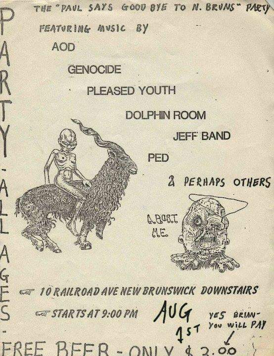 Adrenalin OD-Genocide-Pleased Youth-Post Ejaculation Depression @ New Brunswick NJ 8-1-UNKNOWN YEAR