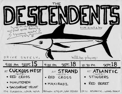 Descendents-Redd Kross-Minutemen-Saccharine Trust @ Costa Mesa CA 9-15-UNKNOWN YEAR