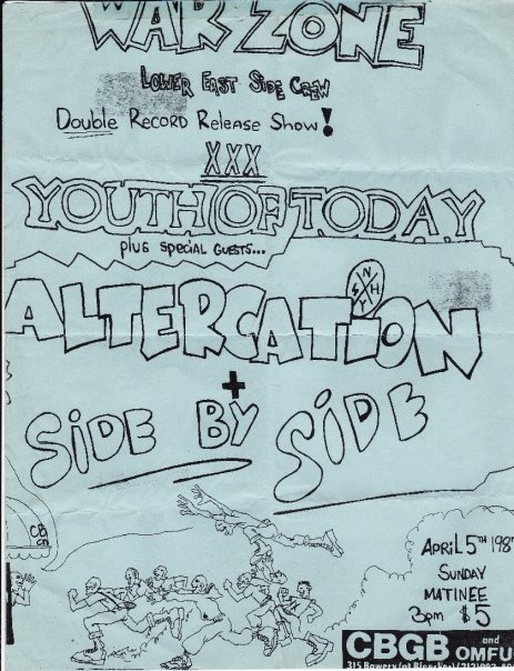 War Zone-Youth Of Today-Altercation-Side By Side @ New York City NY 4-5-87