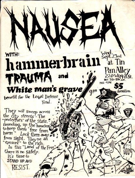 Nausea-Hammerbrain-Trauma-White Man's Grave @ New York City NY 9-23-87