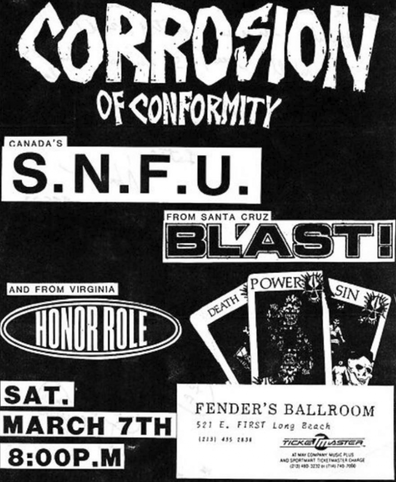 Corrosion Of Conformity-SNFU-Bl'ast!-Honor Role @ Long Beach CA 3-7-87