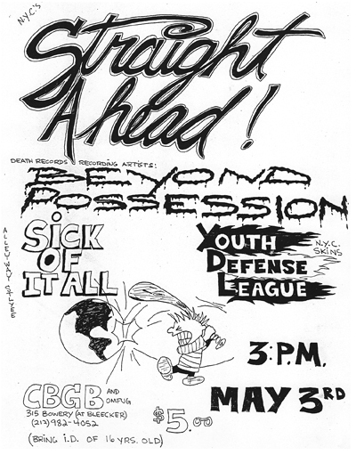 Straight Ahead-Beyond Possession-YDL-Sick Of It All @ New York City NY 5-3-87