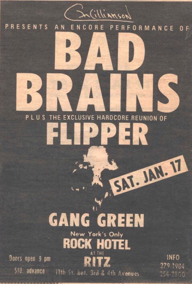 Bad Brains-Flipper-Gang Green @ New York City NY 1-17-87