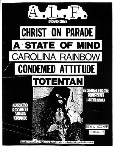 Christ On Parade-A State Of Mind-Carolina Rainbow-Condemed Attitude-Totentan @ Berkeley CA 5-31-87