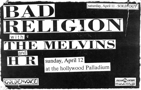 Bad Religion-Melvins-HR @ Hollywood CA 4-12-87