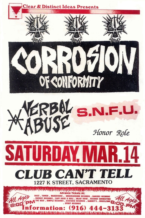 Corrosion Of Conformity-Verbal Abuse-SNFU-Honor Role @ Sacramento CA 3-14-87