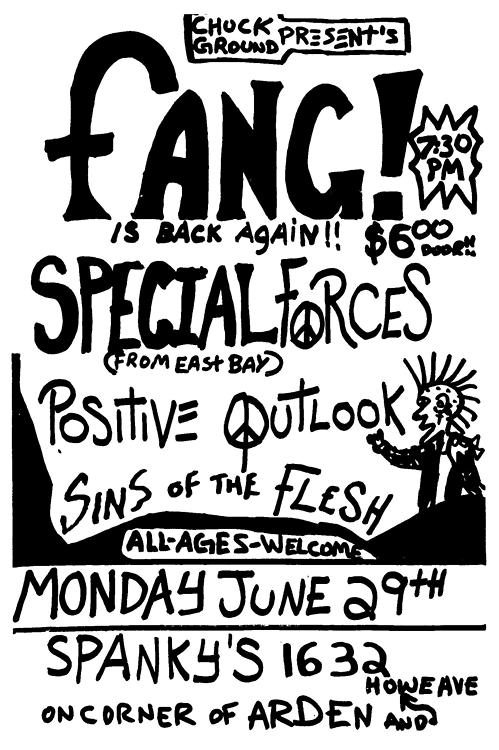 Fang-Special Forces-Positive Outlook-Sins Of The Flesh @ Riverside CA 6-29-87
