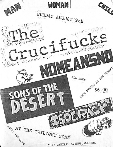 Crucifucks-No Means No-Sons Of The Desert-Isocracy @ Oakland CA 8-9-87