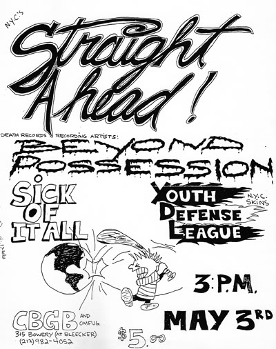 Straight Ahead-Beyond Possession-Sick Of It All-YDL @ New York City NY 5-3-87