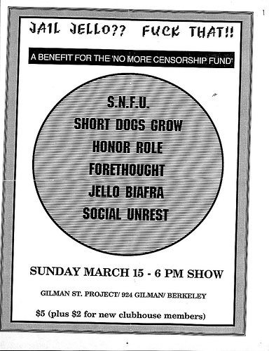 No More Censorship Fund Benefit 3-15-87