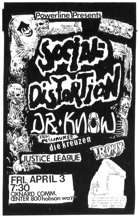 Social Distortion-Dr. Know-Die Kreuzen-Justice League-Irony @ Oxnard CA 4-3-87