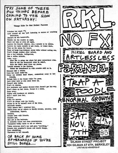 Rich Kids On LSD-NOFX-Mikel Board & Artless Less-Paranoia-Trap A Poodle-Abnormal Growth @ Berkeley CA 11-7-87