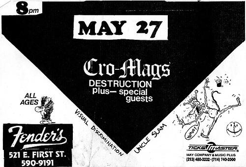 Cro Mags-Destruction-Visual Discrimination-Uncle Slam @ Long Beach CA 5-27-87