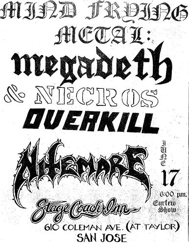Megadeth-Necros-Overkill @ San Jose CA 6-17-87
