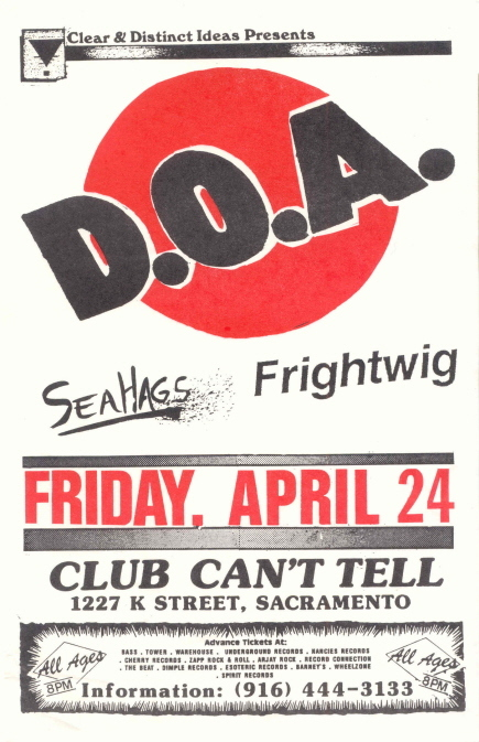 DOA-Sea Hags-Frightwig @ Sacramento CA 4-24-87