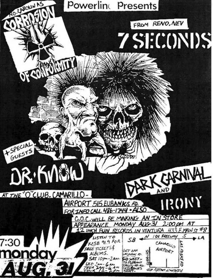 Corrosion Of Conformity-7 Seconds-Dr. Know-Dark Canal-Irony @ Ventura CA 8-31-87