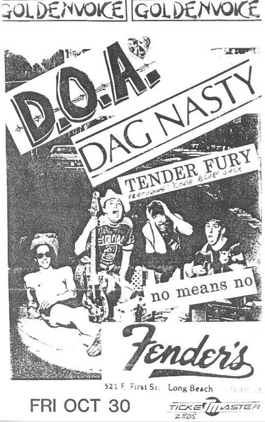 DOA-Dag Nasty-Tender Fury-No Means No @ Long Beach CA 10-30-87