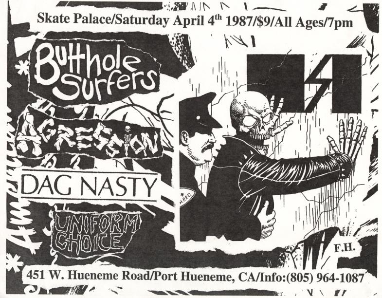 Butthole Surfers-Aggression-Dag Nasty-Uniform Choice @ Port Hueneme CA 4-4-87