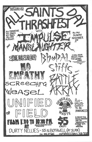 Impulse Manslaughter-No Empathy-Screeching Weasel-Battle Array @ Palatine IL 11-1-87