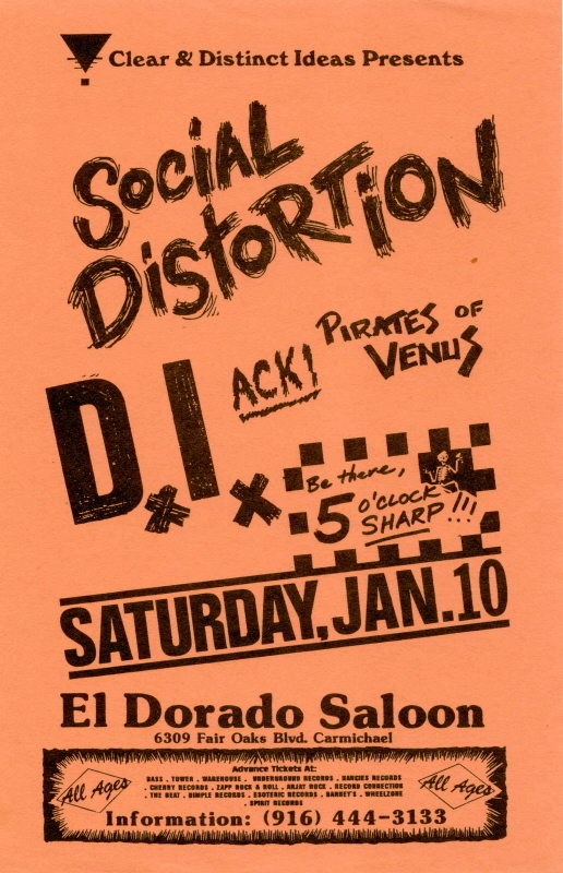 Social Distortion-DI-Ack!-Pirates Of Venus @ Sacramento CA 1-10-87