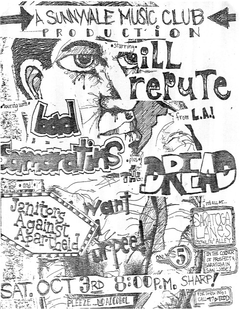 Ill Repute-Bad Samaritans-Dread-Janitors Against Apartheid @ San Jose CA 10-3-87