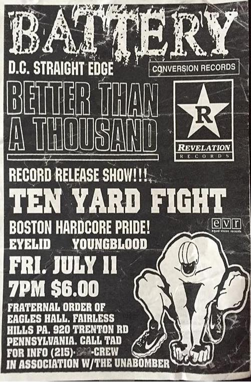 Battery-Better Than A Thousand-Ten Yard Fight-Eyelid-Youngblood @ Fairless Hills PA 7-11-97