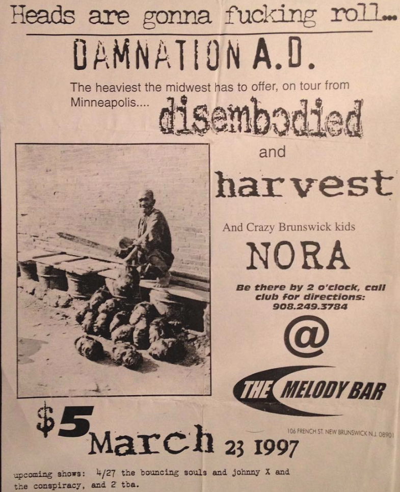 Damnation AD-Disembodied-Harvest-Nora @ New Brunswick NJ 3-23-97