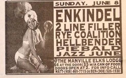 Enkindels-2 Line Filler-Rye Coalition-Hellbender-Piebald-The Jazz June @ Manville NJ 6-8-97