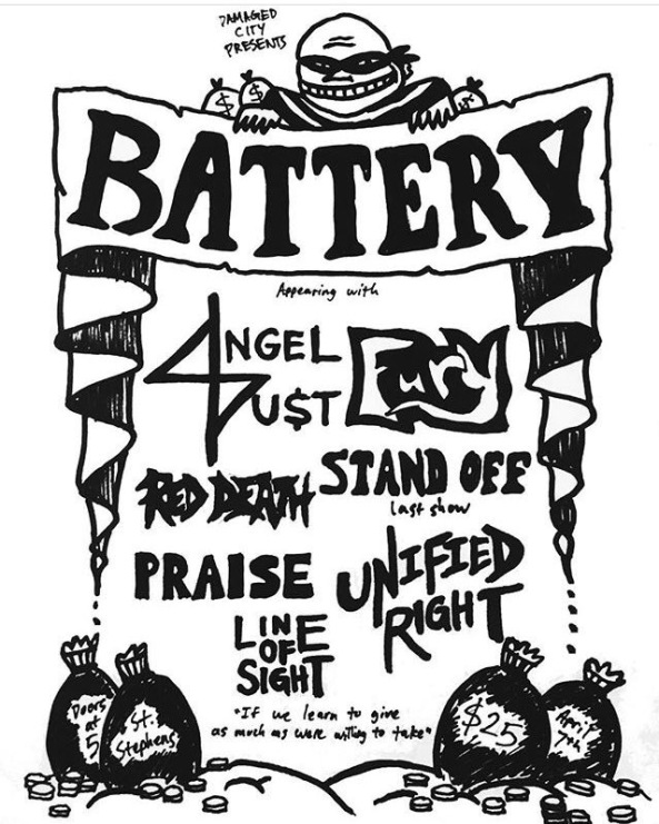 Battery-Angel Dust-Fury-Red Death-Stand Off-Praise-Unified Right-Line Of Sight @ Washington DC 4-7-17