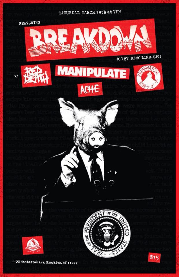 Breakdown-Red Death-Manipulate-Ache-Krimewatch @ Brooklyn NY 3-18-17