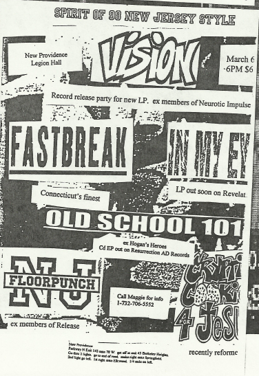 Vision-Fastbreak-In My Eyes-OS 101-Floorpunch-Cryptic Cookies For Jesus @ New Providence NJ 3-6-98