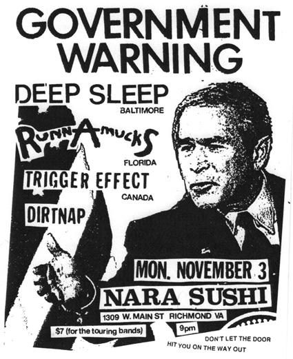 Government Warning-Deep Sleep-Runnamucks-Trigger Effect-Dirtnap @ Richmond VA 11-3-08